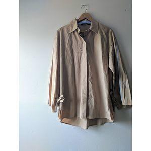 Zara Long Sleeve Brown Button Down Blouse Size M